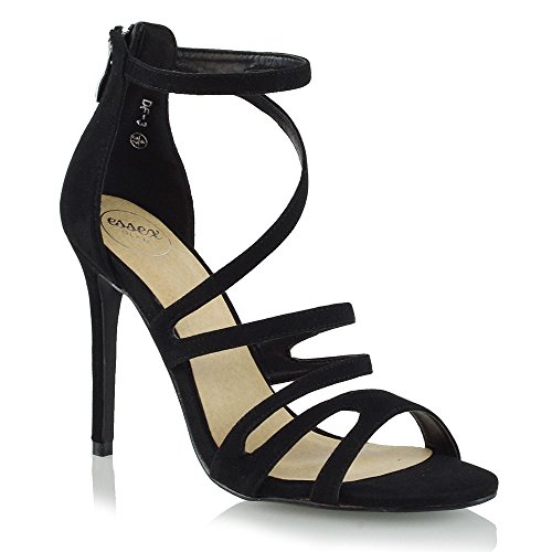 ESSEX GLAM Damen Peep Toe High Heel Schwarz Kunstwildleder Stilett Sandalen EU 41 (Gladiator-sandalen Heel)