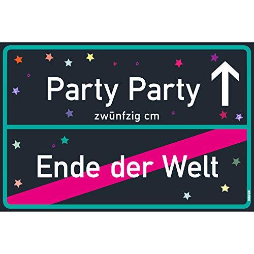 Party Ende Welt Der Kostüm - vanva Party Schild Party Party Ende der Welt Schild Black Blue Party-Ortsschild Ortstafel Wanddeko Party süße Geburtstag Geschenk Frauen Geschenkidee Männer 30x20 cm Schild mit Sprüchen Party Sachen
