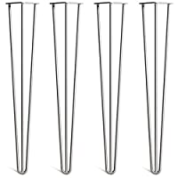 """[HLC] 4 x Hairpin Table Legs - Superior Double Weld Steel Construction with Free Screws, Build Guide & Protector Feet, Worth £8! - 10mm Steel, All Sizes & 13 Colours [4""""/10cm, 2 Rod, Raw]"""