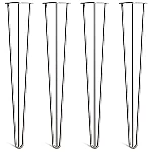 4 x Hairpin Table Legs – Superior Double Weld Steel Construction With Free Screws, Build Guide & Protector Feet, Worth £8! – Mid-Century Modern Style – 10cm To 86cm, All Finishes (10mm)