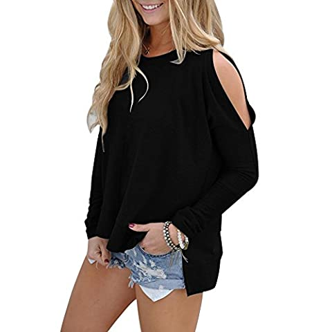 ICOCOPRO Womens Cold Shoulder Tops Long Sleeve Cutouts Blouse round neck loose Fit- Black Tshirt- XXL