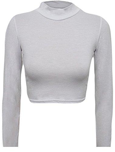 My Fashion Store Crop top à manches longues Taille 36 à 42 Blanc - Blanc