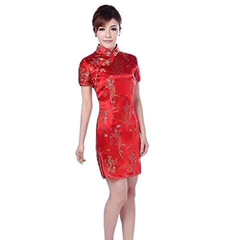 Meijunter Femmes Traditionnel Chinois Dragon Phénix Imprimé Brocart Qipao Tenue