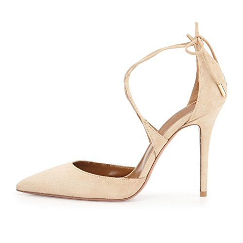 EDEFS Damen Pumps Stilettos High Heels Snake Optik Shoes Lace Up  Schnürsenkel Schuhe Schlangenmuster Camel c0cbe373bd