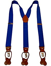 Navaksha Royal Blue Y-Back Suspender with Convertible Clip and Button End