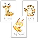 Frechdax® 3er Set Kinderzimmer Babyzimmer Poster Bilder DIN A4 | Waldtiere Portrait | Bär Fuchs REH Eule | Mädchen Junge Deko | Dekoration Kinderzimmer (3er Set REH, Fuchs, Eule)