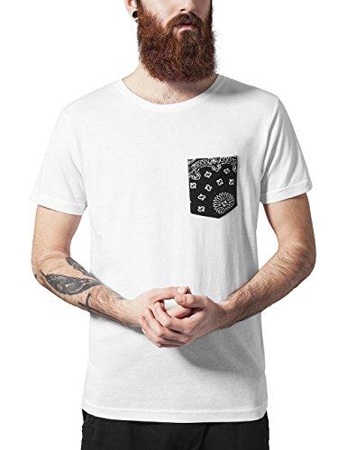 Urban Classics TB971 Herren T-Shirt Contrast Pocket Tee, Gr. Large, Mehrfarbig (Wht/blackbandana 569) (Baumwolle Tee 100 Pocket)
