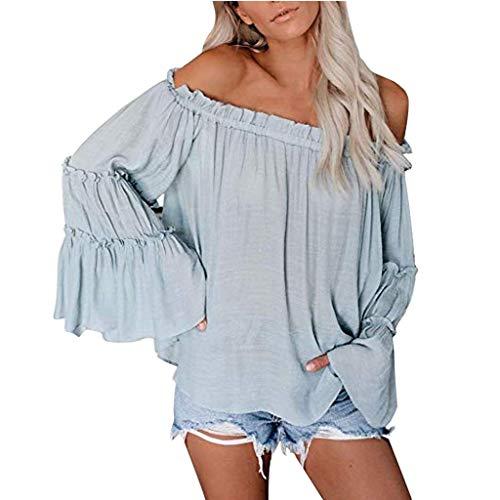 Qmber Damen Shirts Tops Elegant Pullover Frühling Herbst Langarm Mädchen Basics Pulli Bluse Oberteile Sweatshirt Casual Sexy schulterfreie Bluse mit lässigen Falten/LB,2XL -