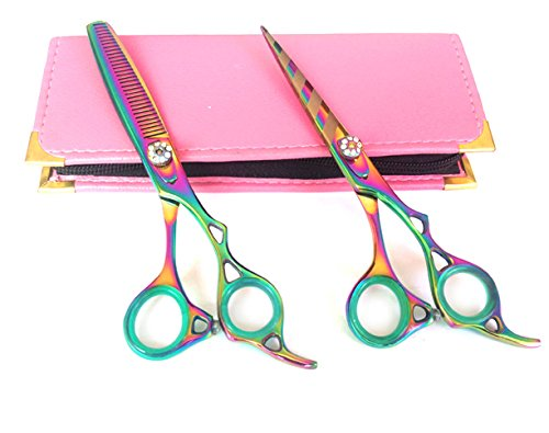 ciseaux de coiffure Professional Hairdressing Scissors & Thinner Hair Cutting Shears Barber Salon Styling Scissors 6.0\