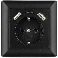 Enchufe pared USB 2.8A Negro, Kaifire Schuko Toma de corriente con 2 puertos USB System 55 Instalación empotrado - Cargador iPhone Samsung Tablet MP3