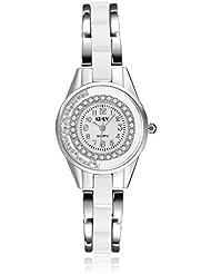 BeGift Damen Armbanduhr Strass Runde Digital Zifferblatt Keramik Legierung Band Analog Quarz Uhr Charm Charme Silber Pink Weiß