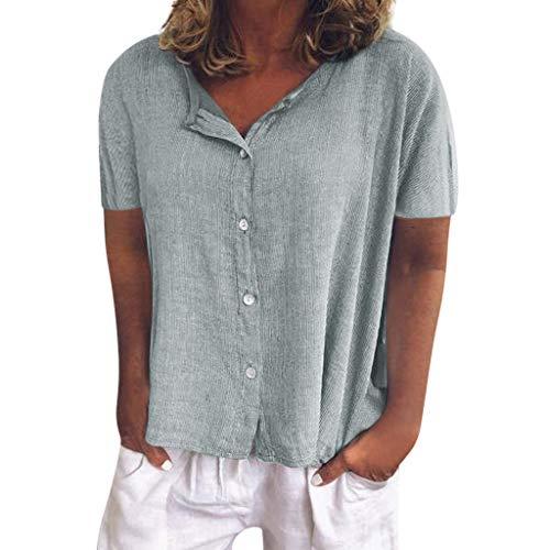 VJGOAL Tops Damen Bluse Kurzarm Elegant Sommer Große Größen Freizeit Klassisch Einfarbig V Ausschnitt Knopf Lose T Shirt