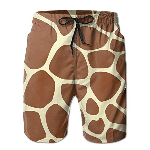 Nisdsh Giraffe Print Pattern Men Quick Dry Stripe Swim Trunks Mesh Lining Beach Shorts with Adjustable Pull Cord Medium -