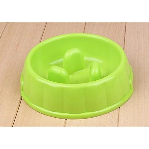 Piccolo Feeder lenta No Gulp Go-slow Anti-Gulp ciotola del cane di plastica (verde)