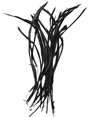 PANAX Echte dünne Gänsefedern in Schwarz, 100 Stück - ca. 10-15cm Federlänge - Ideal zum Basteln, Hüte, Ohrringe, Fasching, Karneval, Hochzeiten, Dekorationen.