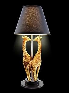 Pied de lampe girafe style africain avec girafes en pierre artificielle de rechange pour lampe veilleuse.