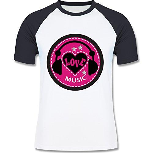 DJ - Discjockey - Love music - zweifarbiges Baseballshirt für Männer Weiß/Navy Blau