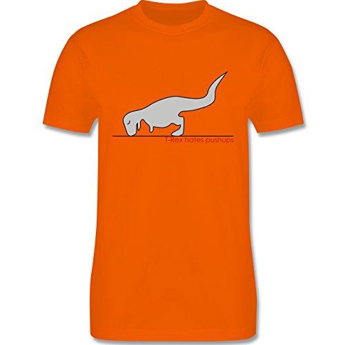 Nerds & Geeks - T-Rex hates Pushups - Herren Premium T-Shirt Orange