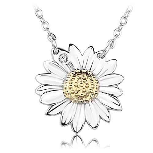 sewanz collana Choker Collane donna ciondolo fiore Margherita in argento Sterling, cristallo