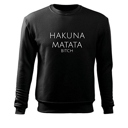 Herren hakuna matata Hoodie Herren Sport Freizeit Tank Shirt Ärmellos von OwnDesigner mit Aufdruck (95-Sweat-Schwarz-L) (Halbarm Rib)
