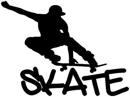 Samunshi® Wandtattoo Skate Skateboard Wandaufkleber in 10 Größen und 19 Farben (100x74cm schwarz) -