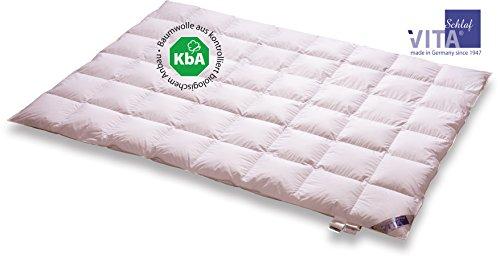 Vita Schlaf BIO DE LUXE Daunendecke Leicht Sommer Deutsche Qualität mit KBA Einschütte große Größen (155 x 220 cm)
