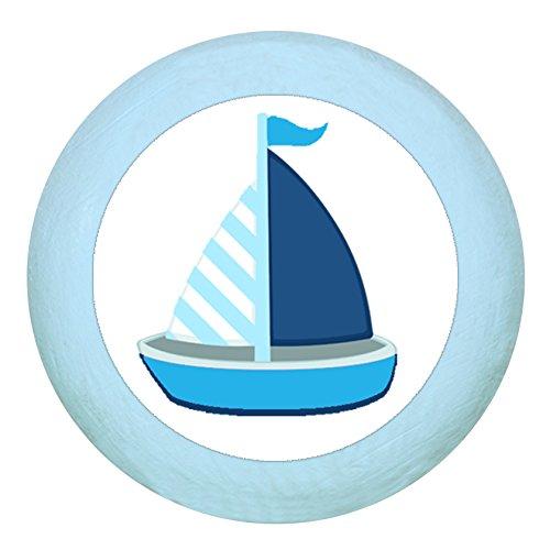Holzgriff Möbelknopf Möbelgriff Möbelknauf Jungen hellblau dunkelblau blau Massivholz Buche - Kinder Kinderzimmer Segelboot Boot Schiff blau dunkelblau weiß gestreift maritim - hellblau zartblau pastellblau pastellfarben (Holz-kinderzimmer-schrank)