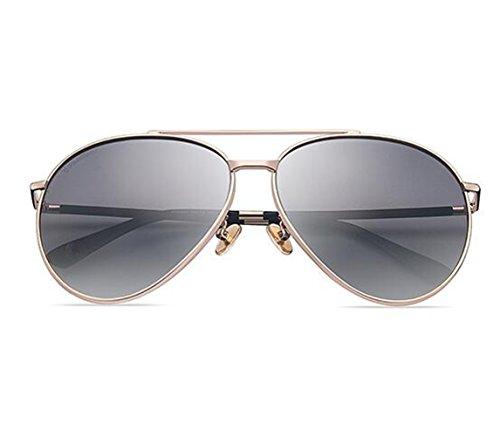 SUN^GLASSES SONNENBRILLEN Neue Elegante Optische Offset Sonnenbrille Driver Spiegel, Champagne Box/Mit Grauer Stirnfläche