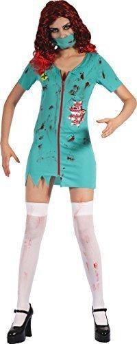 üm Zombie Chirurg Damen-Kostüm (Kleid & Maske ) UK Größe 10-14 (Zombie-gesicht-ideen Für Halloween)