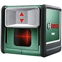 Bosch Kreuzlinienlaser Quigo (3 Generation, 2x AAA Batterien, Arbeitsklemme, Verpackungsbox, Reichweite: 10 m, Messgenauigkeit: ± 0,8 mm/m)
