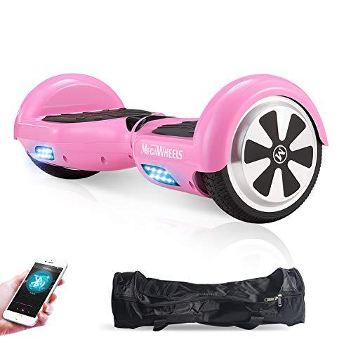 M MEGAWHEELS Scooter-Patinete Eléctrico Hoverboard, 6.5 Pulgadas con Bluetooth - Motor eléctrico 500w, Velocidad 10-12 Km/h. (Pink)