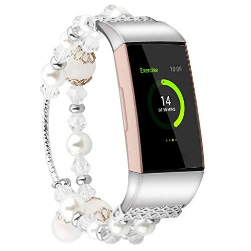 UPXIANG Uhrenarmband Mode Sport Perlen Armband Band für Fitbit Charge 3 für Damen Ersetzen Sie den Riemen (groß) (Silber)