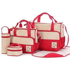 Mummy Hug® Multi-Function Baby Diaper Nappy Bag/Mummy Changing Set Handbag (Red)