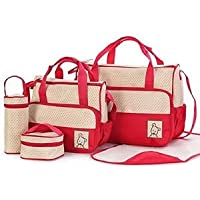 Mummy Hug Baby Diaper Nappy Bag/Mummy Changing Set Multi-Function Handbag, Red, 5-Piece