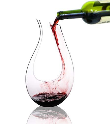 Carafe vin,Carafe à décanter,decanteur a vin,1 l Carafe à vin, Cadeaux pour Le vin, Accessoires pour Le vin,Carafe a Decanter vin (1 Litre, Forme en U)