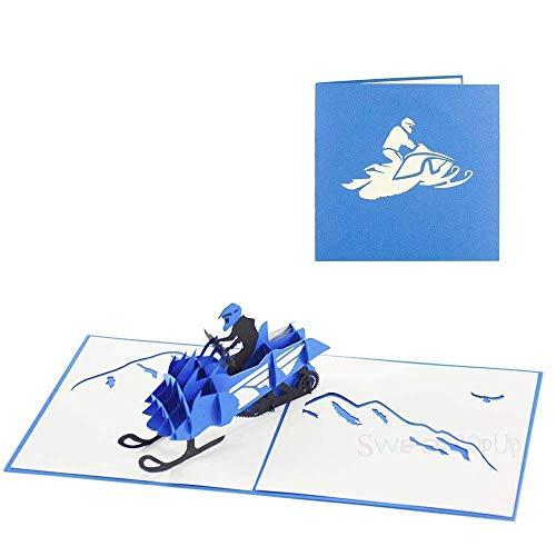 3D Pop Up Karte Geburtstagskarte Gutschein für Glückwunsch Geburtstag Reise Ski Urlaub Wintersport - Schnee Scooter