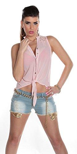 Sexy ärmellose Chiffonbluse mit Spitze Koucla by In-Stylefashion SKU 0000T705501 Rosa