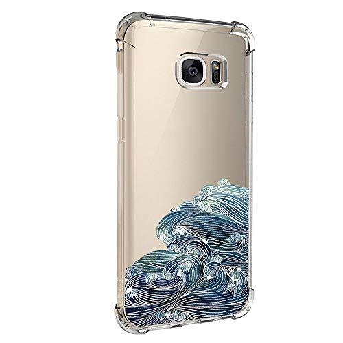 Pacyer kompatibel mit Galaxy S7 / S7 Edge Hülle Silikon cover Bumper [Ultra Dünn] Stoßfest Marmor grau hellblau TPU Schutzhülle Anti-Scratch Anti-Rutsch Handyhülle (5, Samsung Galaxy S7)