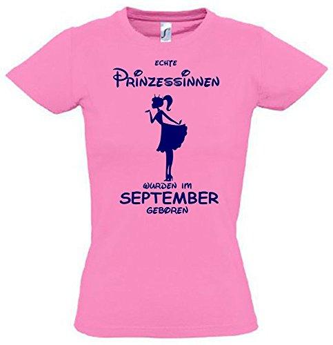 Echte Prinzessin Kleid (Echte Prinzessinnen wurden im September geboren ! Mädchen Geburtstag T-SHIRT PINK,)