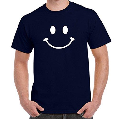 Herren Lustige Sprüche coole fun T Shirts-Smiley Face-Smiley-Gesicht-Marineblau-X-Large (T-shirt Gesicht, Funny Cool)