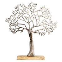 Carousel Home and Gifts Silver Metal Tree Decorative Ornament On Wooden Base - Large