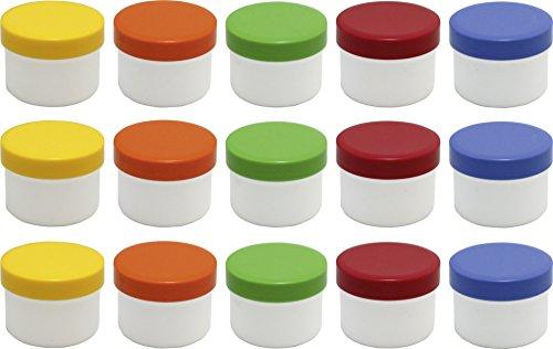 15 Salbendöschen, Cremedöschen, Salbenkruke flach, 35ml Inhalt mit farbigen Deckeln - MADE IN GERMANY