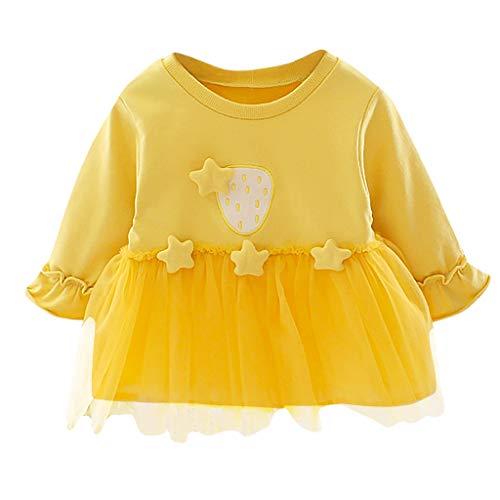 Xmiral Baby Mädchen Langarm Tüll Saum Tops Reine Farbe Spleißen Tutu Kleid Rundkragen Kleid Sterne Patchwork T-Shirt(Gelb,6-12 Monate)