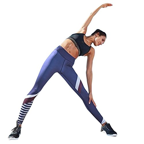 Yogogo Nouveaux Pantalons De Yoga! Aux Femmes ÉPissure Yoga Maigre Leggings De Gymnastique DEntraîNement Aptitude Pantalons De Sport blue