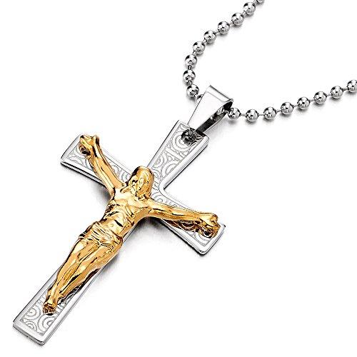 Große Jesus Christus Kruzifix-Keuz-Anhänger Edelstahl Halskette für Herren Gold Silber mit 75CM Stahl Kugelkette (Großes Kruzifix Charme)