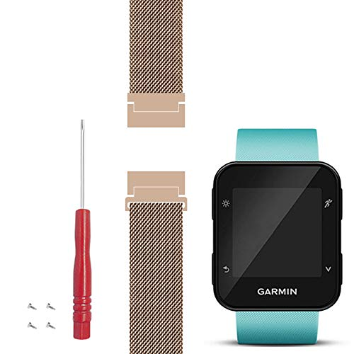 C2D JOY Ersatz für Garmin Forerunner 30&35 armbänder ersatz GPS-Laufuhr Metall Weben Armband - #1607 Roségold, S Edelstahl-gps