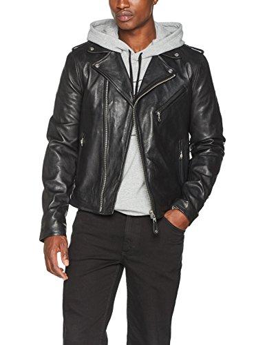 Schott Nyc Lc1140 - Veste en cuir - Col châle - Manches longues - Homme - Noir (Black) - Large (Taille fabricant: L)