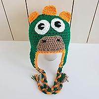 54a8d9bbe33 Crafty Stuff Baby Knits Little Green Dinosaur Crochet Baby earflap hat  dress up costume monster beanie
