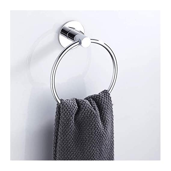 TOTAL HOME : Self Adhesive Towel Rings Stainless Steel Round Bathroom Towels Holder Wall Mounted Hand Towel Rails for Kitchen Bath Room