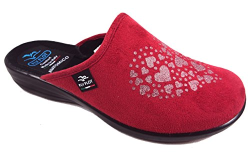 Fly Flot P3949 WD ROSSO CIABATTE DONNA MADE IN ITALY SOTTOPIEDE ANATOMICO ZEPPA 2,5 CM Rosso